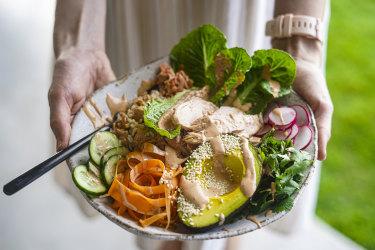 Spicy tuna roll bowl. KatrinaMeynink's tinned tuna recipes for Good Food April 2021.