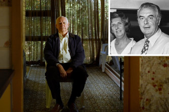 Composite of Gough Whitlam, his wife (inset) and his son Nick (main).