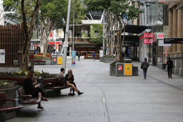 Brisbane CBD is deserted after the announcement the lockdown would be extended to Sunday.