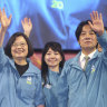 Taiwan President and Democratic Progressive Party presidential candidate Tsai Ing-wen, left, waves to supporters while launching her re-election campaign in Taipei, Taiwan.