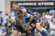 Vulnerable: Cronulla beat the Titans at Shark Park on Saturday but their future off the field is uncertain.