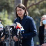 Premier Gladys Berejiklian at Wednesday's COVID-19 press conference, her second appearance this week, even though she had indicated they would stop as of last Friday.