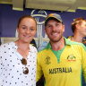 Ash Barty with Australia one-day cricket captain Aaron Finch.