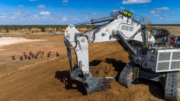 Equipment arrives to remove the overburden from Adani's Carmichael coal mine in central Queensland.