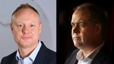 SBS managing director James Taylor (left) and ABC managing director David Anderson (right).