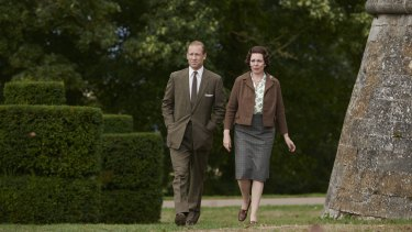 Tobias Menzies and Olivia Colman in a scene from The Crown filmed on the Cannonade Lawn at Belvoir Castle.