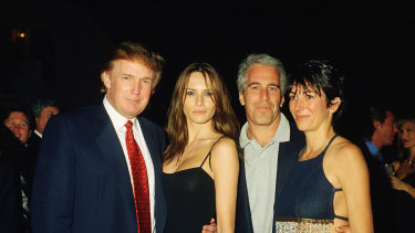 Donald Trump and his then-girlfriend Melania Knauss with Jeffrey Epstein and British socialite Ghislaine Maxwell.