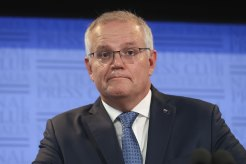 Prime Minister Scott Morrison during his address to the National Press Club of Australia in Canberra on Monday.