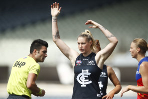 Carlton star Tayla Harris kicked a goal, but was reported in the semi-final win over the Lions.