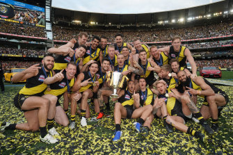 Premiers: The Tigers celebrate their big win.