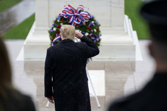 US President Donald Trump participates in a Veterans Day ceremony at the Tomb of the Unknown Soldier at Arlington National Cemetery in Virginia on Wednesday.