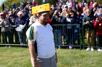 Shane Lowry of Team Europe endears himself to the Wisconsin locals.