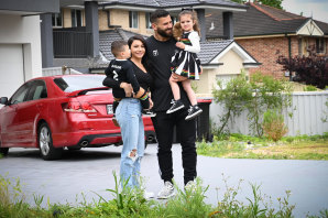 Panthers player Josh Mansour, wife Daniella and children Dre, left, and Siana.