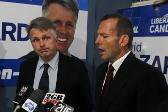 Tony Abbott pictured with David Gazard in 2010. Mr Gazard has been hired by the ACT Catholic Education Office.