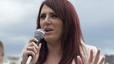 Jayda Fransen, 31, of the British First party, gained widespread attention after a message she posted online was retweeted by US President Donald Trump.