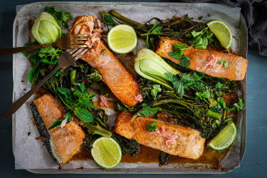 miso ginger salmon tray bake