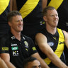 Jack Riewoldt (right) says Damien Hardwick (centre) had addressed the issue of his new relationship with the playing group.