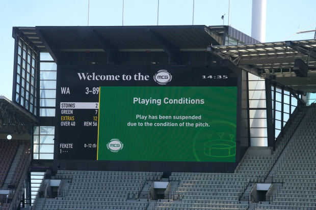 The Sheffield Shield game between Victoria and Western Australia at the MCG was abandoned due to safety concerns over the pitch.