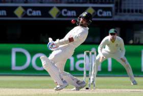 Perfect pitch: Murali Vijay keeps his eye on a tough one at Optus Stadium.