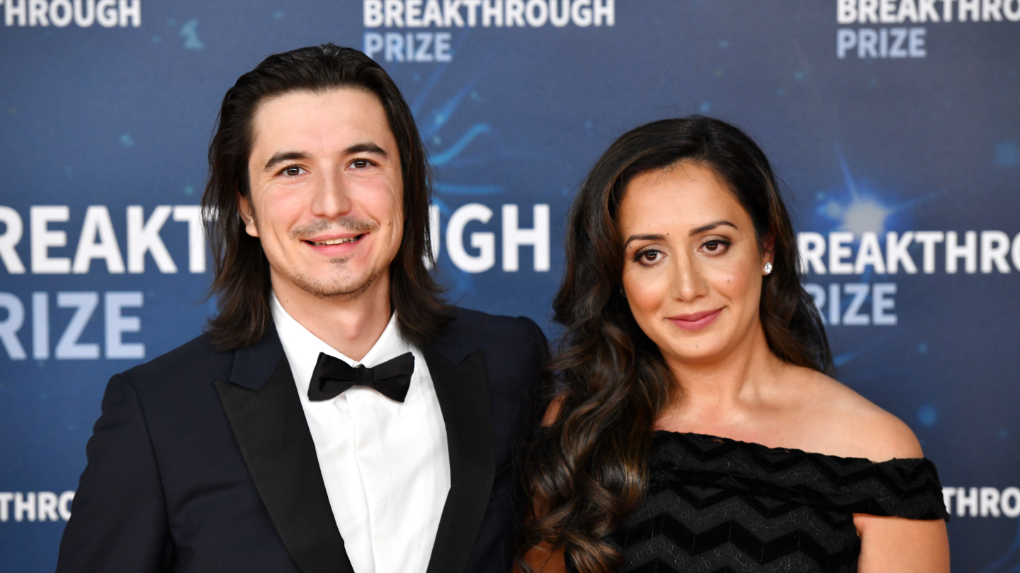 Vlad Tenev and Celina Tenev attend the 2020 Breakthrough Prize Red Carpet at NASA Ames Research Center on November 03, 2019 in Mountain View, California.