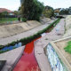 The Environment Protection Authority has warned people to avoid contact with Stony Creek after a section in Yarraville has turned red after being polluted with an unknown substance at the weekend. 23rdSeptember 2019 The Age News Picture by JOE ARMAO