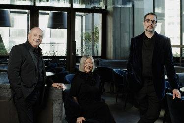 Chris Lucas,Vicki Wild andMartin Benn at their new Melbourne restaurant, Society, in May 2021.