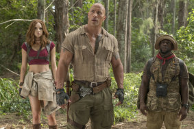 Hollywood's highest-earning actor for the second consecutive year: Dwayne Johnson with Karen Gillan and Kevin Hart in Jumanji: Welcome To The Jungle.