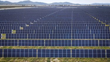 Photovoltaic modules at a solar farm on the outskirts of Gunnedah in NSW.