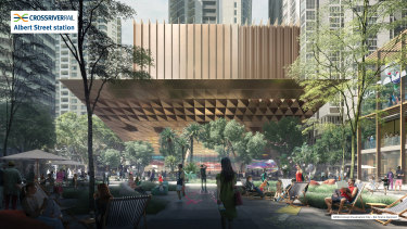 Concept image of the new train station and plaza at Albert Street as part of Cross River Rail.