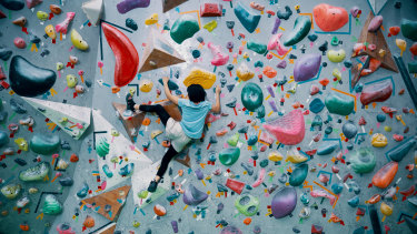 It's not just Tokyo but all over Japan that climbing gyms are a thing. Here, a teenager navigates a wall.