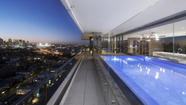 Views from the penthouse pool at 3 Yarra Street, South Yarra.