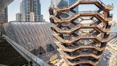 The Vessel sculpture, by Thomas Heatherwick, at Hudson Yards, on the right.