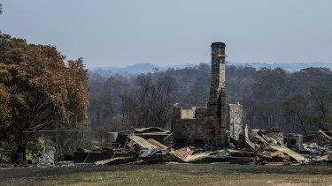 A burnt home just outside Moruya in Eurobodalla Shire.