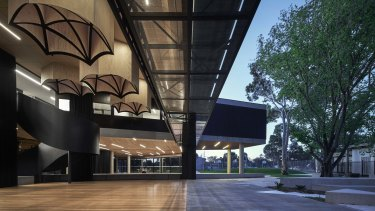 The Arts Epicentre is constructed in concrete and glass, with massive steel girders.