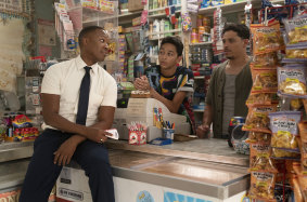 Corey Hawkins (left), Gregory Diaz and Anthony Ramos in In the Heights.