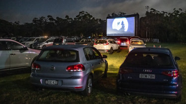 Blast from the past: the COVID-safe Sunset Drive-in cinema at St Ives showground.