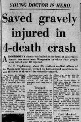 The Age's report of June 21, 1966 on the Hume Highway crash and Harry Frydenberg's heroism.