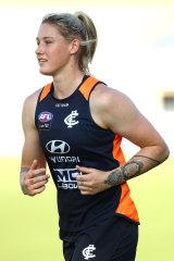 Carlton star Tayla Harris training earlier this year.