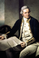 A painting of Captain James Cook in his naval uniform from the National Maritime Museum in Greenwich, London.