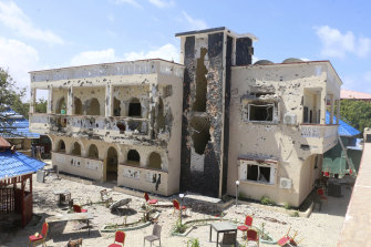 A view of Asasey Hotel after an attack in Kismayo, Somalia.