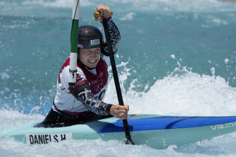 Canadian Haley Daniels trains for the Olympics women's C1 event at the Kasai Canoe Slalom Centre in Tokyo last week.