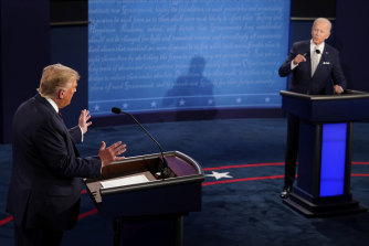 President Donald Trump and Democratic presidential candidate former vice-president Joe Biden exchange points during the first presidential debate.
