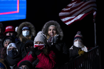 Conditions were near-freezing for the Trump rally at Omaha's Eppley Airfield.