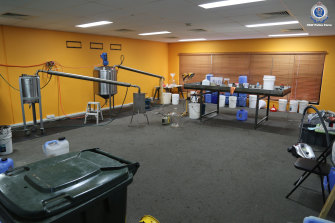 The alleged drug lab, located in Sydney's south-west, will take police several days to dismantle given the size of the set-up.