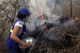 A volunteer works to put out a fire in Aguas Calientes on the outskirts of Robore, Bolivia, on Saturday.