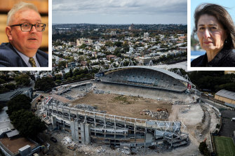 The demolition of Allianz Stadium at Moore Park in April 2019 with NSW Arts Minister Don Harwin and NSW Premier Gladys Berejiklian (insets).