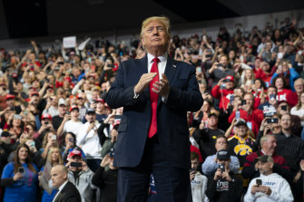 President Donald Trump speaks at a campaign rally at Drake University in Iowa.