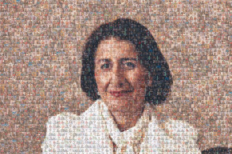 A composite mosaic photo of NSW Premier Gladys Berejiklian made with photos from her daily COVID-19 updates this year.