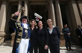 Town crier Graham Keating pictured in 2016 with councillor Jess Miller, Sydney lord mayor Clover Moore and councillor Kerryn Phelps.