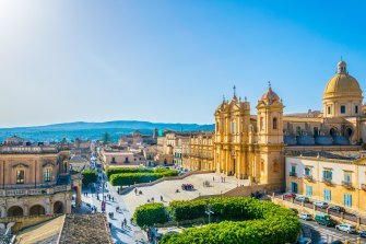 Aerial view of Noto in Sicily, Italy.
